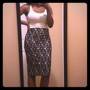 Worthington Black and White Lace Pencil Skirt
